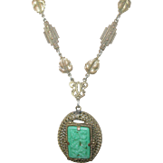 Art Deco Czechoslovakian Pendant Necklace