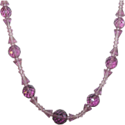 Vintage Lavender Crystal Bead Necklace
