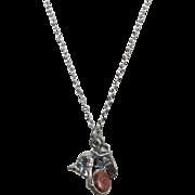 Vintage Sterling Necklace Pendant Man Panning for Gold