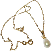 Vintage Sterling Vermeil Necklace Teardrop Faux Pearl Pendant