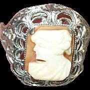 Vintage Sterling Filigree Cameo Ring