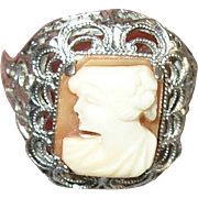 Vintage Sterling Filigree Cameo Ring