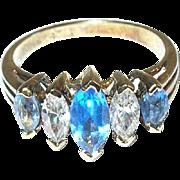 Vintage Sterling Vermeil Ring Faux Diamonds Faux Sapphires