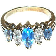 Vintage Sterling Vermeil Ring Faux Diamonds Faux Sapphires