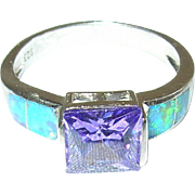 Vintage Sterling Ring Opal Doublets Amethyst