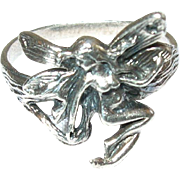 Vintage Sterling Ring Fairy Design