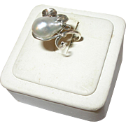 Art Nouveau Ring Silver Grey Saltwater Baroque Pearl