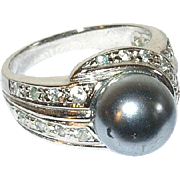 Vintage Sterling Faux Pearl Faux Diamond Ring