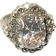 Vintage Sterling Ring Faux Yellow Diamond Marcasite