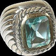 Vintage Ring SterlingTopaz Modernist Design