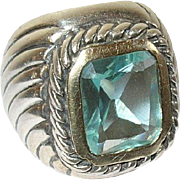 Vintage Ring SterlingTopaz Modernist Design