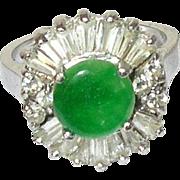 Vintage Sterling Apple Green Jade Faux Diamond Ring
