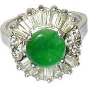 Vintage Sterling Apple Green Jade Faux Diamond Ring
