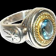 Vintage Ring Sterling Vermeil Cabochon Blue Topaz