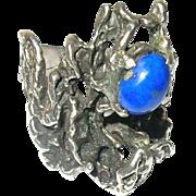 Vintage Ring Sterling Blue Lapis Modernist Design