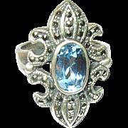 Vintage Ring Sterling Marcasite Topaz
