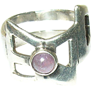 Vintage Ring Sterling Modernist Design Amethyst