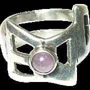 Vintage Ring Sterling Modernist Design Amethyst