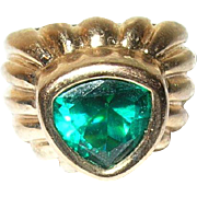 Vintage Ring Sterling Vermeil Faux Emerald