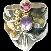 Vintage Ring Sterling Amethyst Modernist Design