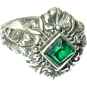 Vintage Ring Sterling Faux Emerald