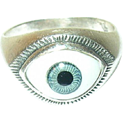Vintage Sterling Ring Evil Eye Design