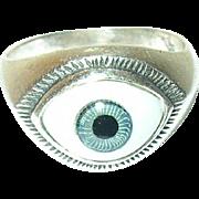 Vintage Sterling Ring Evil Eye Design