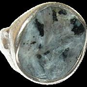 Vintage Ring Sterling Modernist Design Natural Stone
