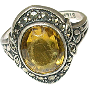 Vintage Ring Sterling Marcasite Yellow FAux Stone