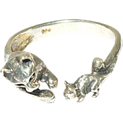 Vintage Ring Sterling Cat Mouse Design