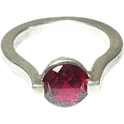 Vintge Ring Sterling Faux Ruby Modernist Design
