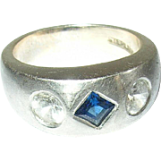 Vintage Ring Sterling Faux Sapphire Faux Diamonds