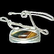 Vintage Necklace Pendant Sterling Tiger's Eye