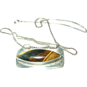 Vintage Necklace Pendant Sterling Tiger's Eye
