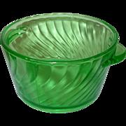 Depression Glass Green Ice Bucket Swirl Pattern