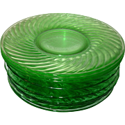 Depression Glass Green  Bread/Butter Dishes Swirled Pattern Set of 6