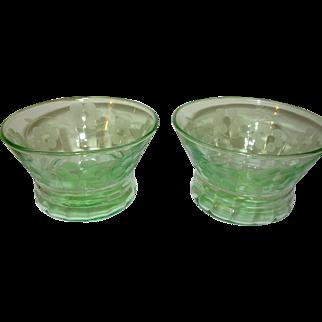 Depression Glass Green Custard Dish  Set of 2