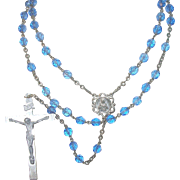 Vintage Crystal Rosary Blue