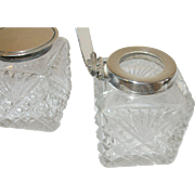 Vintage Ink Wells Sterling Cut Crystal English