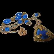 Vintage Necklace Brass Blue Lapis