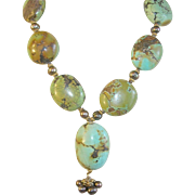 Vintage Turquoise Necklace Large Stones