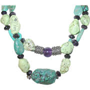 Vintage Necklace Turquoise Faceted Amethyst Beads