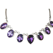 Vintage Necklace Lg Amethyst Drops