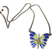 Vintage Necklace Sterling Enamel Butterfly