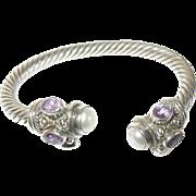 Vintage Bracelet Sterling Faceted Amethyst Mobe Pearl