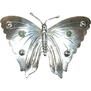 Vintage Brooch Lg Butterfly Sterling