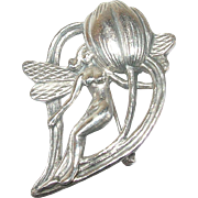 Vintage Brooch Fairy Design Sterling