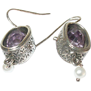 Vintage Earrings Sterling Faceted Amethysts Openwork