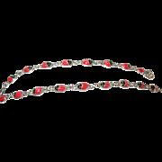 Vintage Bracelet Sterling Enamel Links Ladybug