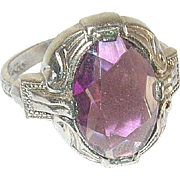 Vintage Ring Faux Amethyst 1930's